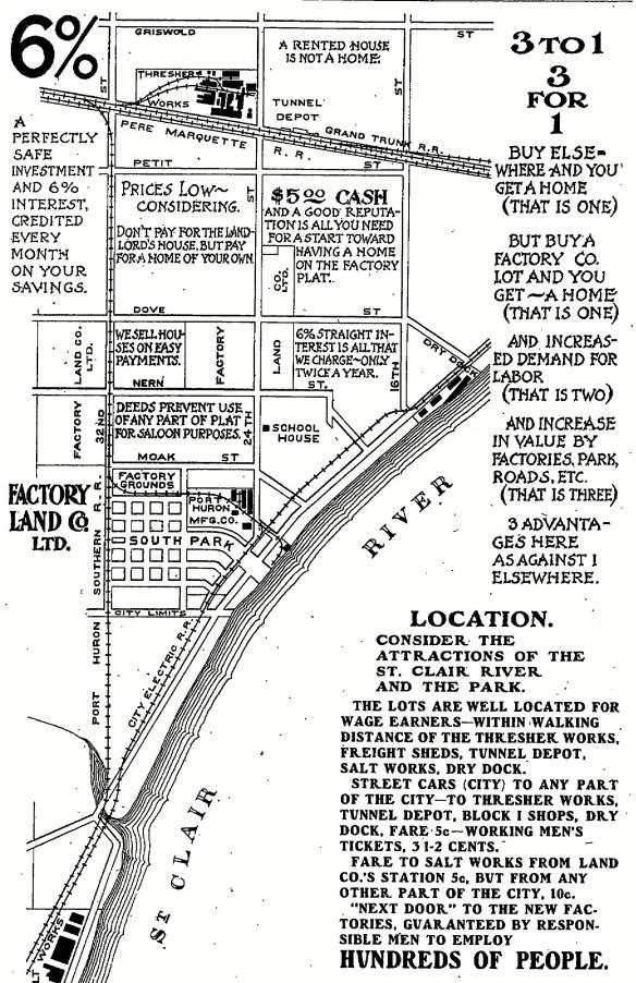Port Huron, Factory Land Company booklet, ca 1902