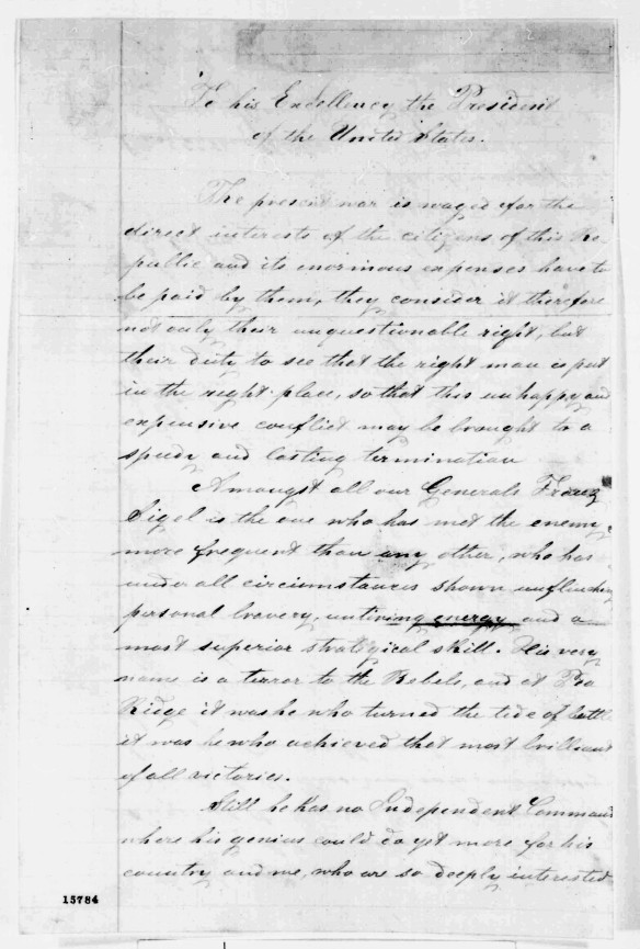 Port Huron letter to Lincoln
