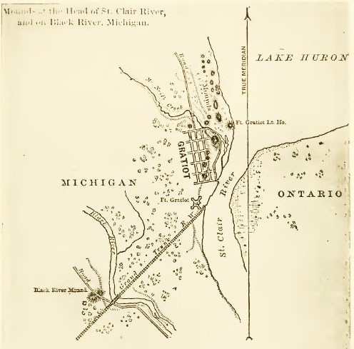 A map found in Jenks (1912, p. 51) of Port Huron and Indian mounds found, apparently from an 1872 report by Henry Gilman