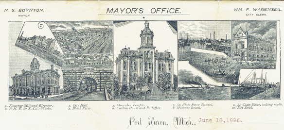 Port Huron mayor's letterhead from a letter dated 1896. Private collection.