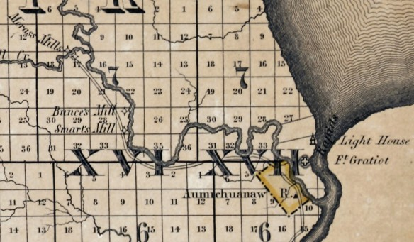 Fort Gratiot and future Port Huron area of the 1825 map by O. Risdon.