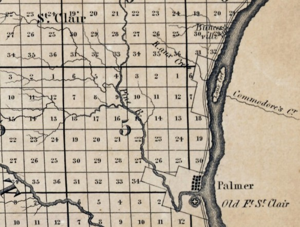 St. Clair (Palmer) area from O. Risdon's 1825 map of the Michigan Territory.