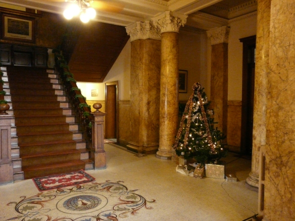 Foyer of the Ladies of the Maccabees hall, now used for offices. December 2016.