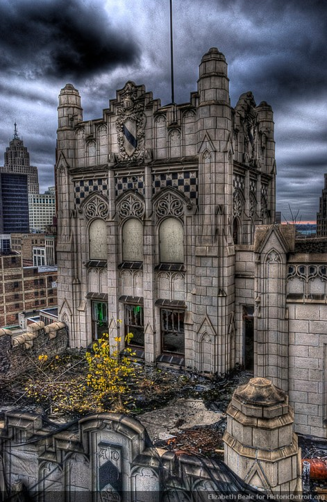 Astounding photo of the top of the Metropolitan Building, Detroit, which is being rehabilitated. Photo by Elizabeth Beale, as HistoricDetroit.org.