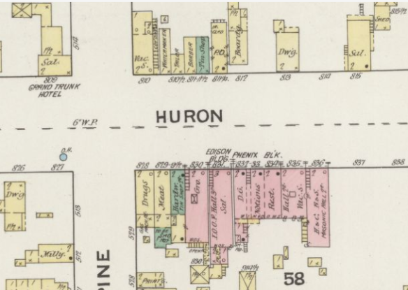 A portion of page 12, 1887 Sanborn Fire Insurance Map (Library of Congress).