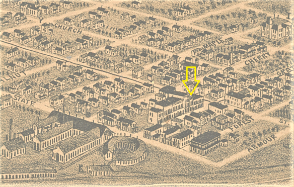 Portion of an 1894 map, showing the strip of buildings on Gratiot Avenue, between State and Elmwood streets, northern Port Huron. The yellow arrow indicates the one building still standing.