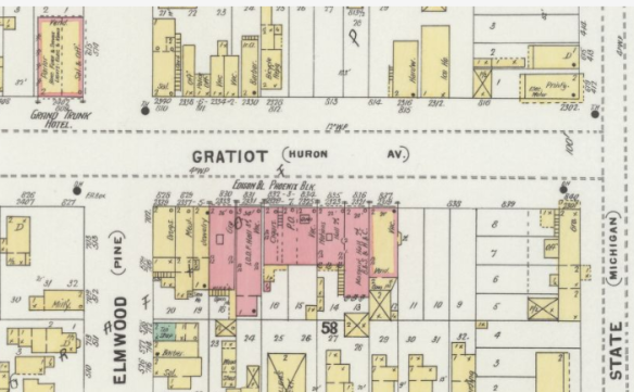 Gratiot, formerly Huron, at Elmwood, formerly Pine. Portion of 1898 Sanborn Fire Insurance map, page 17, Library of Congress.