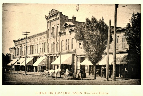 Gratiot Avenue buildings (no further location description given), from the Art Work of St. Clair County 1893, no page.