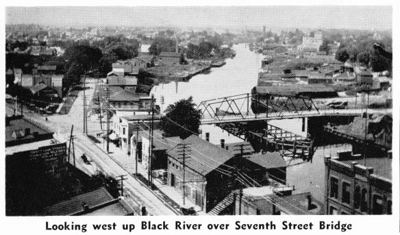 Bird's Eye View west along Black River, 7th St Bridge